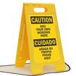Custom Bilingual Caution Floor Standing Sign