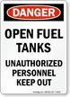 Danger Open Fuel Tanks Sign
