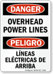 Bilingual OSHA Danger Overhead Power Lines Sign