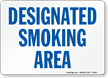 Designated Smoking Area (blue text)