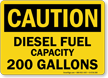 200 Gallons Diesel Fuel Capacity OSHA Caution Sign