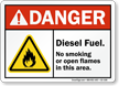 Diesel Fuel No Smoking Danger Sign