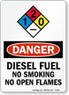 Diesel Fuel No Smoking No Open Flames Sign