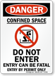 Danger Confined Space Fatal Sign
