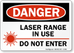 Danger Laser Range In Use Sign