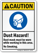 Dust Hazard Mask Be Worn, No Smoking Sign