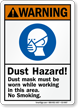 Dust Hazard! Mask Be Worn While Working Sign