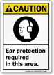 Ear Protection Required ANSI Caution Sign