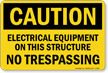 Electrical Equipment On This Structure No Trespassing Sign