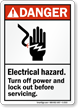 Danger (ANSI) Sign: Electrical Hazard Turn Off Power