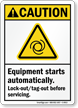Equipment Starts Automatically ANSI Caution Sign