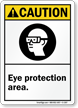 Caution (ANSI): Eye Protection Area Sign