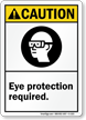 Caution (ANSI): Eye Protection Required (graphic) Sign