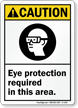 Caution (ANSI) Eye Protection Required Sign