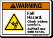 Fall Hazard Climb Ladder Carefully Warning Sign