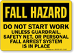 Fall Hazard Do Not Start Work Guardrail Sign