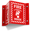 Projecting Fire Extinguisher Inside Sign with Striped Border
