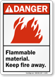 Danger (ANSI) Flammable Material Keep Fire Away Sign