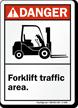 ANSI Danger Forklift Traffic Area Sign