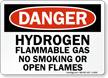 Danger Hydrogen Flammable Smoking Flames Sign