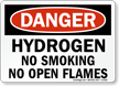 Danger: Hydrogen Flammable Gas No Smoking Sign