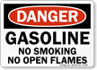 Danger Gasoline No Smoking Flames Sign
