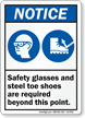 Safety Glasses Steel Toe Shoes Required Point Sign