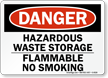 Danger Hazardous Waste Flammable Sign
