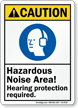 Hazardous Noise Area Hearing Protection Required Sign