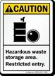 Caution: Hazardous Waste Storage Area Sign