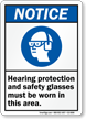 Hearing Protection Safety Glasses Must Be Worn Sign