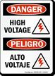 Danger High Voltage / Alto Voltaje Bilingual Sign