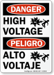 Bilingual Peligro Alto Voltaje High Voltage Sign