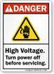 Turn Power Off Before Servicing ANSI Danger Sign