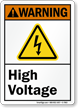 High Voltage ANSI Warning Sign With Graphic