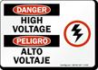 Danger High Voltage Sign Bilingual