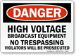 High Voltage No Trespassing Danger Sign