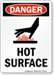 Hot Surface OSHA Danger Vertical Sign