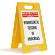 Hydrostatic Testing In Progress Restricted Area Floor Sign