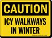 Icy Walkways In Winter Sign