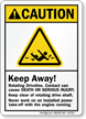 Keep Away, Rotating Driveline ANSI Caution Sign