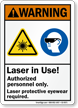 Laser In Use Protective Eyewear Required Warning Sign