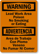 Lead Work Area Poison No Smoking Bilingual Sign