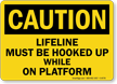 Caution: Lifeline Must Be Hooked Up Sign