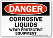 Danger Corrosive Liquids Protective Equipment Sign