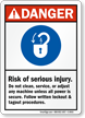 Risk of Injury Lockout, Tagout Danger Sign