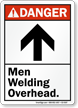 Men Welding Overhead ANSI Danger Sign With Graphic