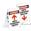 Danger Men Working W/Arrow Reversible Fold-Ups Floor Sign
