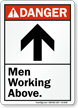 Men Working Above ANSI Danger Sign With Graphic