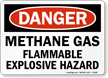 Methane Gas Flammable Explosive Hazard OSHA Danger Sign